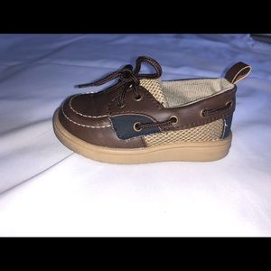 Brown, Tan, and Navy Blue Baby Shoes Size 5